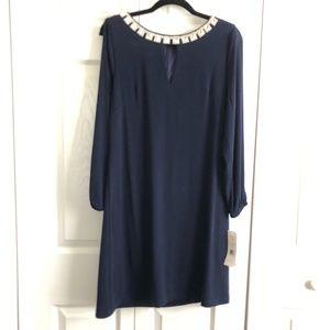Eliza J Sheath Blue Dress Bedazzled Neckline *NWT